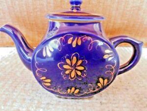 Russische Teekanne, Porzellan Gzhel Udssr Handbemalt Kobalt/gold