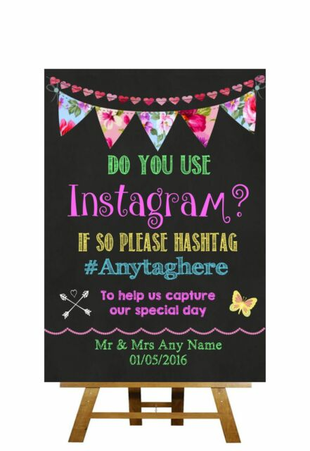 Bright Chalkboard Style Instagram Photos Personalised Wedding Sign