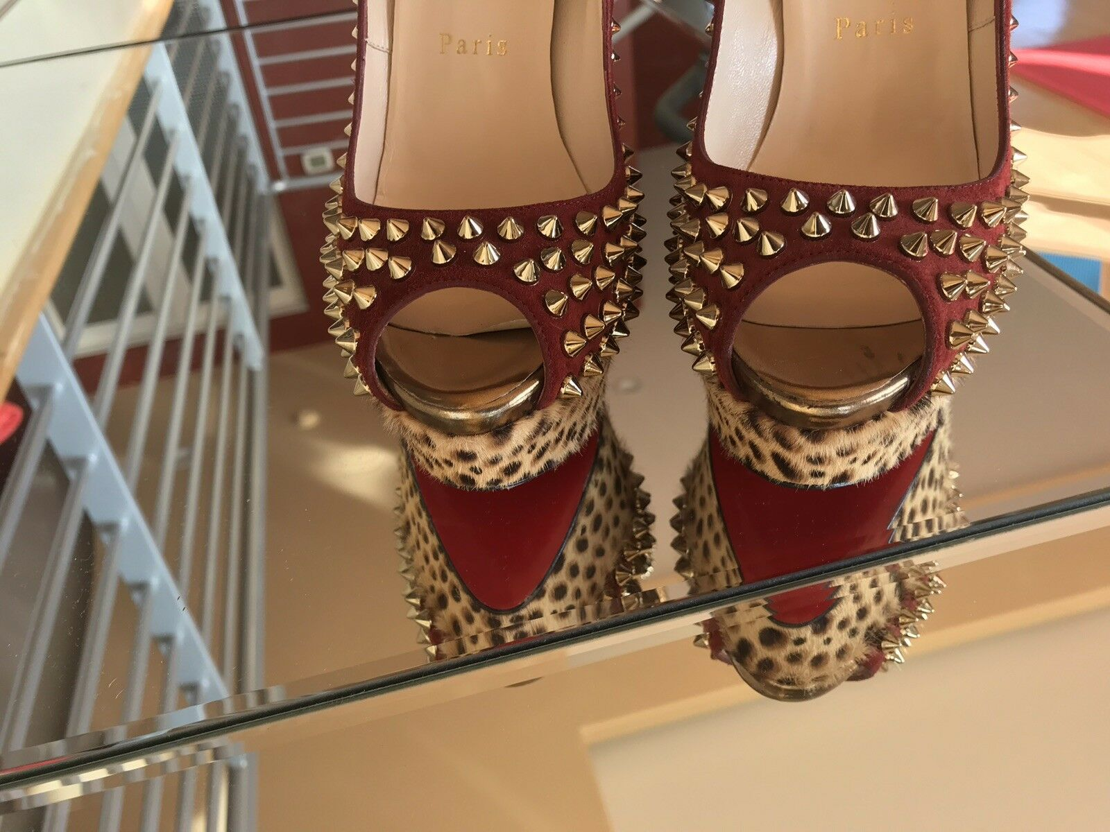 1800 1800 1800 Limited Addition Studs Christian Louboutin Red leopard 150mm 37.5 e787e0