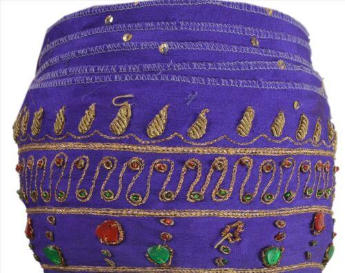 Sanskriti Vintage Sari Border Indian Craft Purple Trim Hand Beaded Sewing Lace