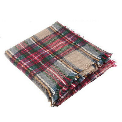 Women Oversized Blanket Tartan Scarf  Wrap Shawl Plaid Cozy Faux Cashmere LB