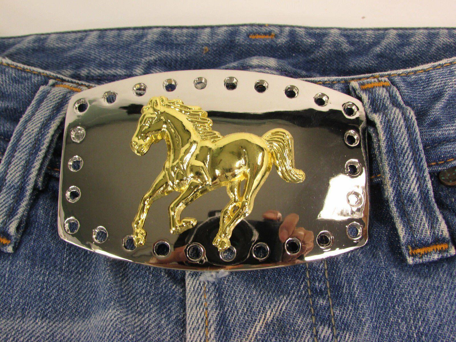 Men Belt Buckle Cowboy Western Fashion Silver Metal Gold Rodeo Horse Big Square