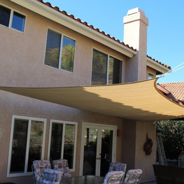 Patio Cover Rectangle Sun Shade Sail Canopy Sand Breathable Mesh 13u0027 Ft X  16.5u0027