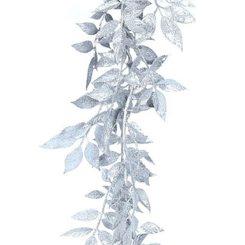 Silver Luxury Christmas Decoration Artificial Glitter Leaf Garland Gold