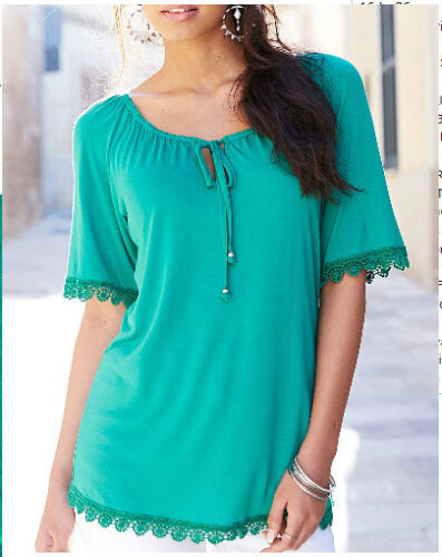 EX Marisota GREEN Gypsy Hersey Smart Pretty Lace Trim Summer Top 12 14 16 *NEW*