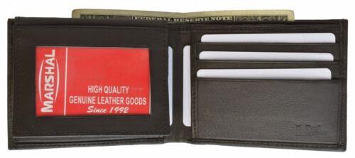 Men/'s Genuine Leather Thin Bifold ID Card Holder Wallet Flip Up Front Pocket