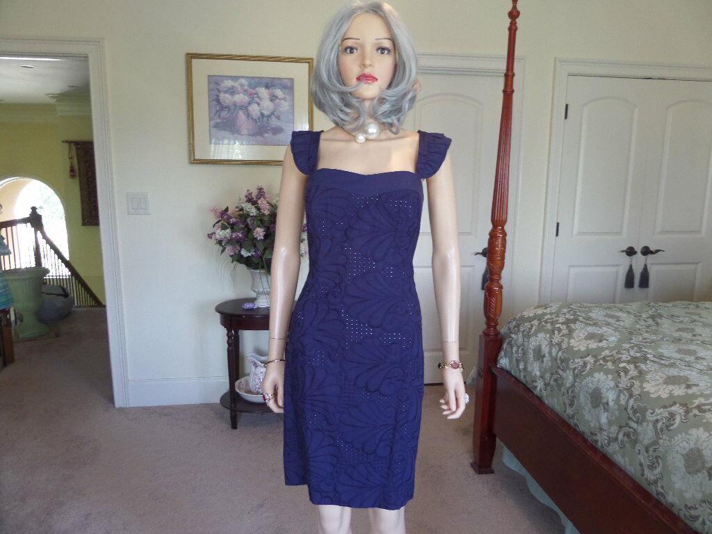 New Lilly Pulitzer Sarafina Blau Lace Sheath Dress Größe 10