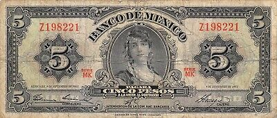 Coins & Paper Money México 5 Pesos 8.11.1961 Series Mk Prefix Z Circulated Banknote Vivid And Great In Style North & Central America