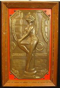 Dancer On Plate Bronze Per F BAR 1960 Between' Act Dancer Pin-Up Model