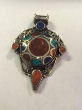 Tibetan Buddhist Turquoise Coral Pewter Pendant Necklace Locket Handmade Nepal 1