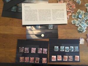 Stamps-1841-2d-Blue-1-silver-5-penny-reds-5-qv-half-penny-green-5-orange1-blue