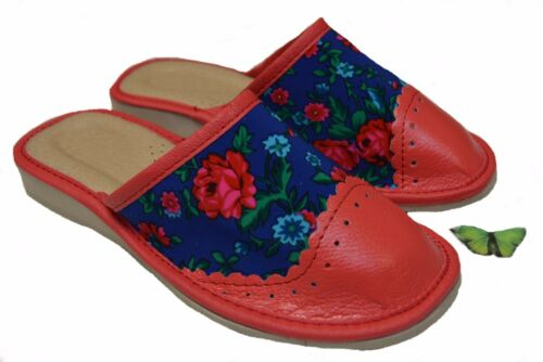womens ladies 100/% leather slippers mules clogs very comfortable size 3-8