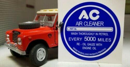 LAND Rover Serie 1 2 2a AC VINTAGE Sfiato Cappuccio Etichette Adesivi bianco su