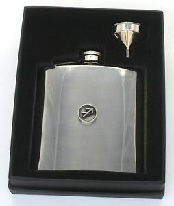 Sagittarius Hip Flask Zodiac Sign Stainless Steel Birth Sign Gift Free Engraving x94agK3w-09121131-839984199