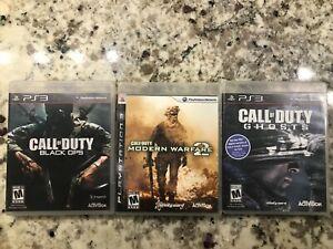 Lot of 3 PS3 Games Call of Duty (Black ops, Modern Warfare II 2, Ghost)