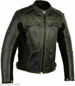 Men-039-s-Motorbike-Motorcycle-Protective-CE-Armour-Quality-Leather-Jacket-Black