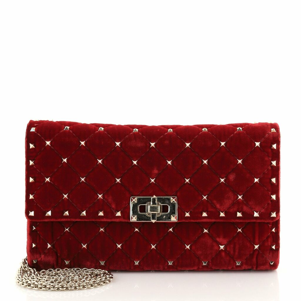 Valentino Rockstud Spike Wallet on Chain Quilted Velvet Small    eBay