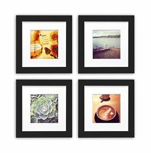 Smartphone-Frames-Collection-Set-of-4-6x6-inch-Square-Photo-Wood-Frames-Black
