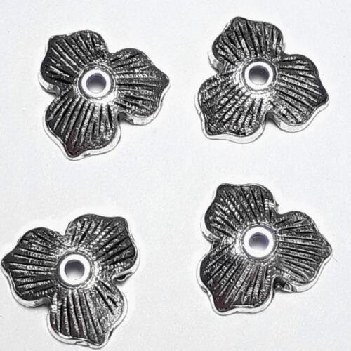 B16897 20pcs Floral Leaf Bead Caps Antique Silver 11mm Fits 14-20mm Beads