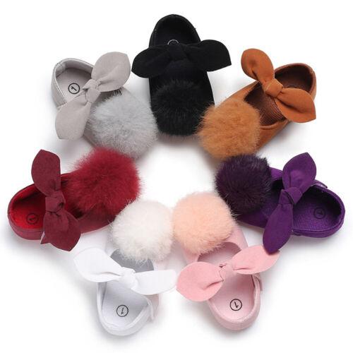 Newborn Baby Girls Bow Pompom Shoes Anti Slip Crib Shoes Prewalker Sneakers Well