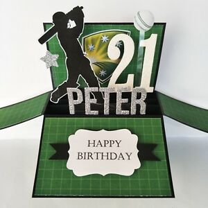 Image Is Loading Handmade Name Amp Age Personalised Birthday Card Cricket