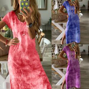 Fashion-Women-Summer-Loose-Casual-Print-V-Neck-Short-Sleeved-Slit-Up-Maxi-Dress