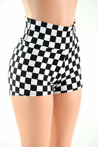 Black and White Checkered Flag High Waist Rave Festival Shorts ...
