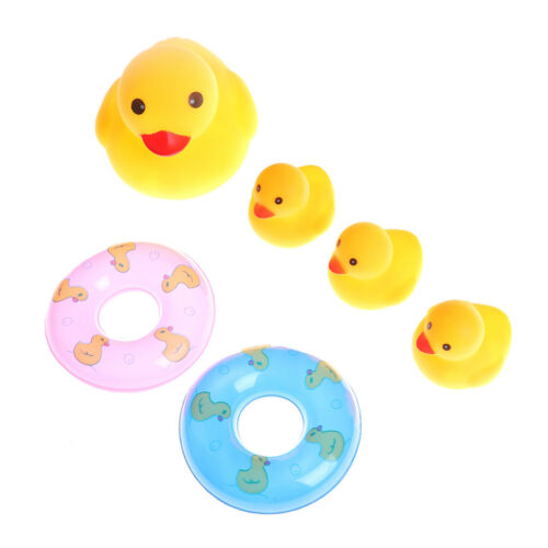 4pcs Rubber Ducks With 2pcs Swimming rings Shower Bath Floating Baby Kids Toy JD