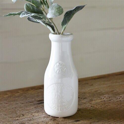 """White Milk Bottle Vase 7.25/"""" H"""