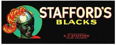 CRATE LABEL VINTAGE GRAPE BLACK AMERICANA 1950S STAFFORD/'S ORIGINAL ADVERTISING