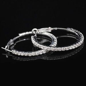 2Ct-Round-Diamond-Micropave-Huggie-Hoop-Earring-14K-White-Gold-Plated