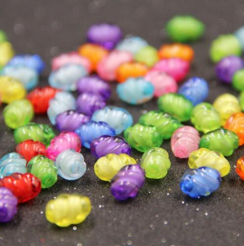 200X Mixed Colors Acrylic Beads Spiral Oval Craft//Kids Jewelry makeing DIY