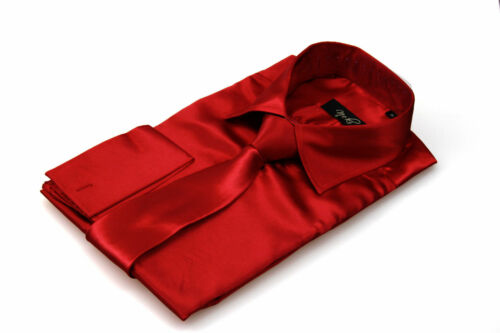 Da Uomo in Raso di Seta Rossa Camicia Abito Italian Design Tutte Le Taglie S M L XL XXL 3xl 4xl