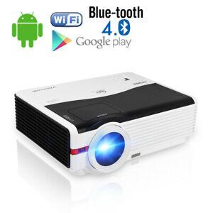 8000Lumens-HD-Android-WiFi-Beamer-fuer-Fussballspiel-Draussen-Blue-tooth-Projektor