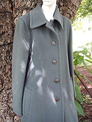 Sage Green Lambswool Angora Long Coat Womens Size 10 Lampert London Trench Wool