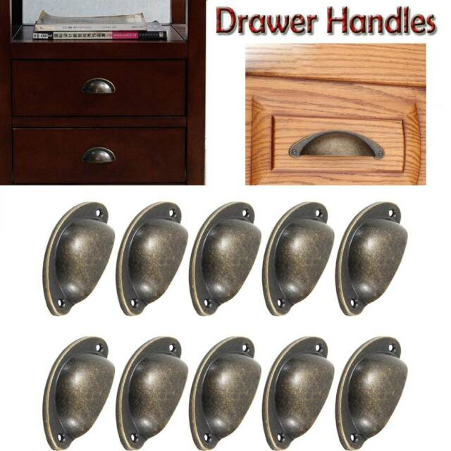 Hot Sale 10 pcs Antique Cupboard Door Knob Drawer Furniture Shell Pull Handle