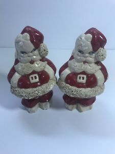 Set-of-2-Vintage-Plaster-Santa-Claus-Christmas-Statues-Figures-Holiday-Home-Xmas