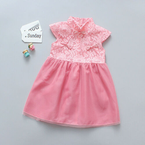 Toddler Kids Baby Girls Cheongsam New Year Tulle Princess Dress Outfits Clothes