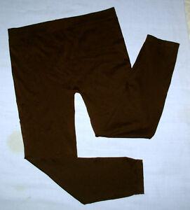 Apostrophe-stretch-leggings-womens-sz-L-capri-yoga-pants-brown-nylon-spandex