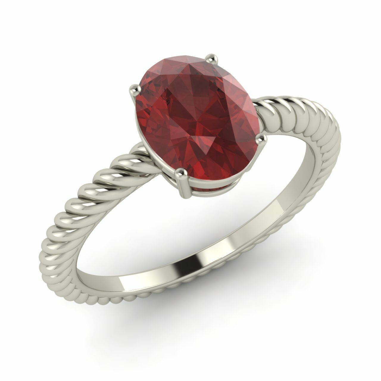 Certified 1.23 Ct Oval Natural Garnet Solitaire Engagement Ring 10k White gold