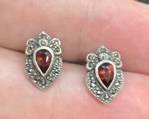 Vintage-Sterling-Silver-Marcasite-amp-Garnet-Post-Pierced-Earrings