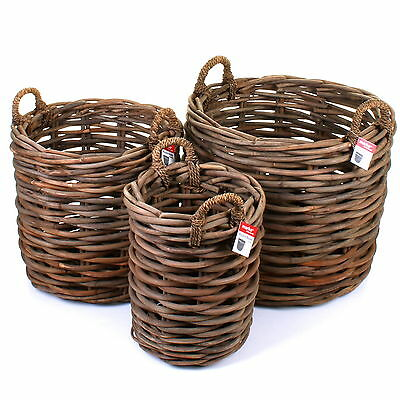 Rattan Wicker Storage Display Log Basket Round Fireside Willow Kindling Basket