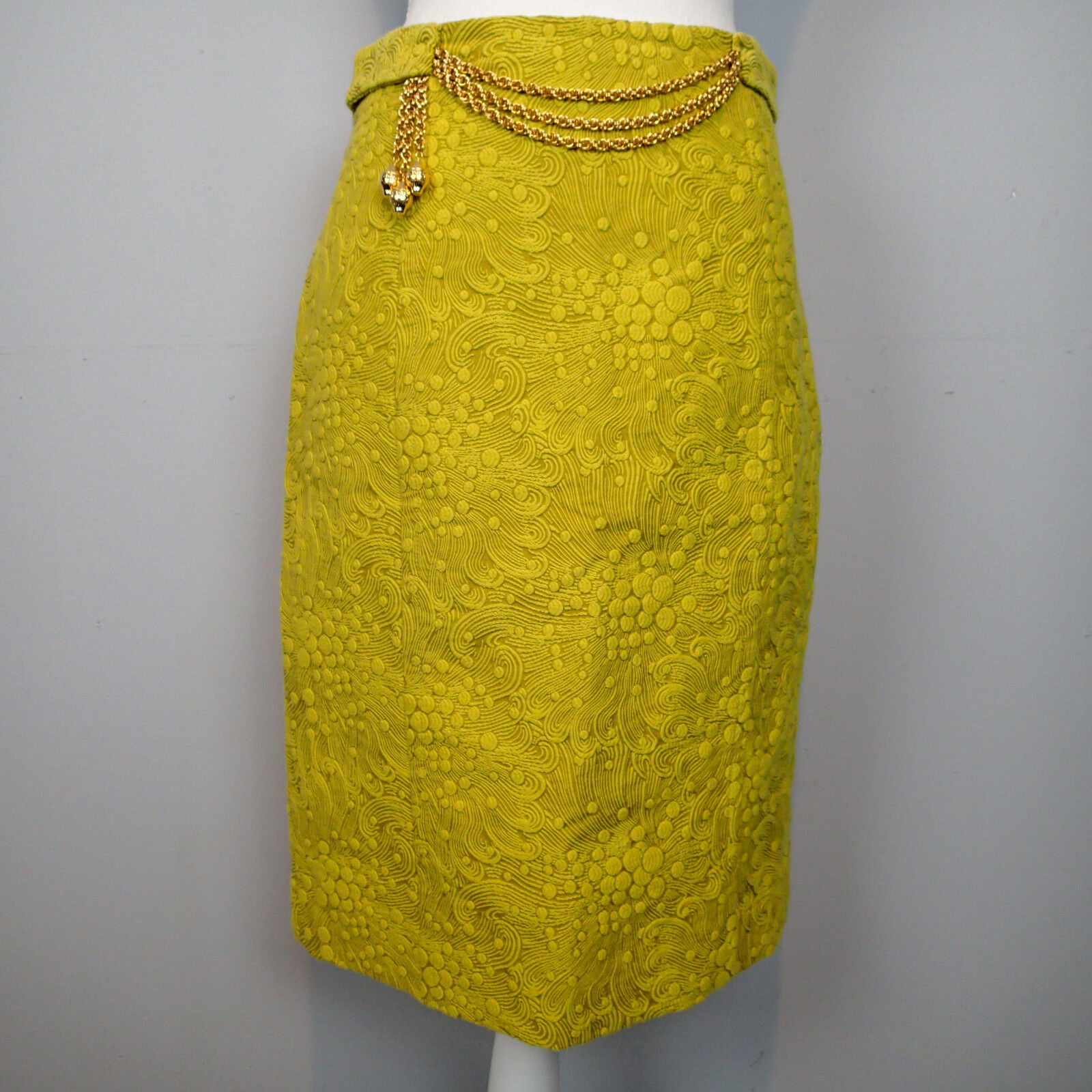 Milly New York Brocade Pencil Skirt gold Chain Straight SZ 6 YELLOW EMBOSSED b5