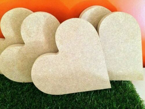 5 x  MDF Free Standing Heart 18mm thick 10cm length