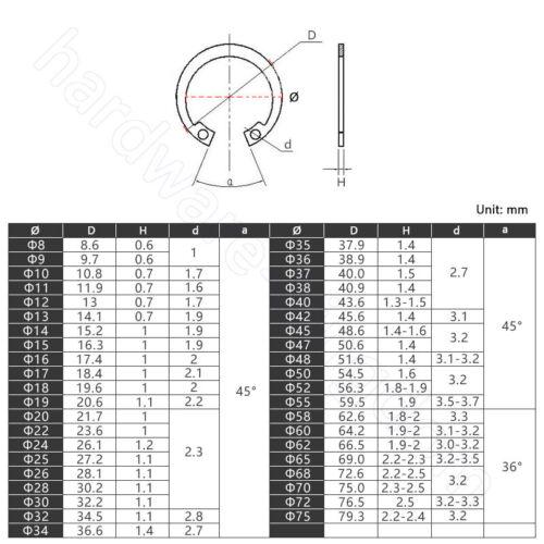 Internal Circlips Retaining Rings C Clip M6 M7 M8 M9 M11 M12 M13 M15 M15 M16-M80