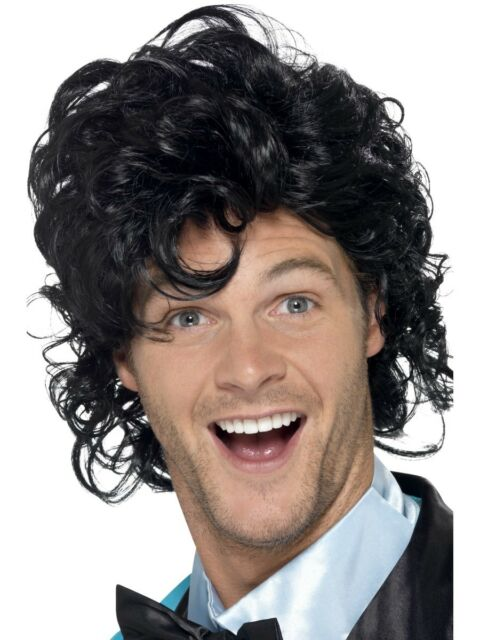 Black Prom King Perm Wig Mens Fancy Dress Accessory 80s Wig