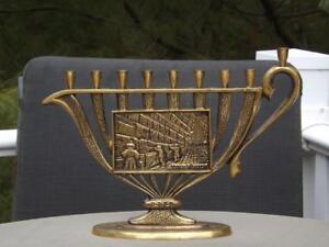 Brass-Wailing-Wall-Menorah-by-Sabra-from-Israel-Judiasm-EXC