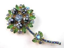 Vintage JULIANA D&E Blue & Green Rhinestone Polka Dot Flower Brooch BOOK PIECE
