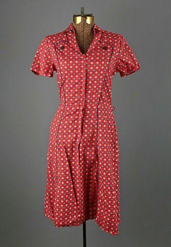 VTG Women's 50s Red Floral Print Zip Up Aldens Dre