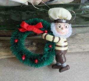 Hersheys Chocolate Kiss Mr Baker Elf Bottle Brush Wreath All Wood